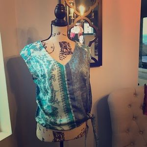 TINY Blue and Green Paisley Top